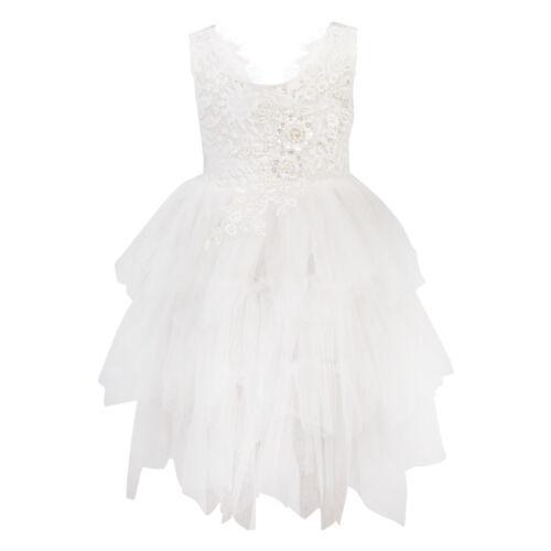 Hermosa Girl vestido encaje Tutu apliques espalda ocasi tul de de Flower blanco de abierta 6w6aZr