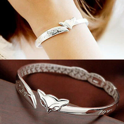 Chic Wholesale Gift Lady Jewelry Silver Charm Cute Fox Bracelets Bangle