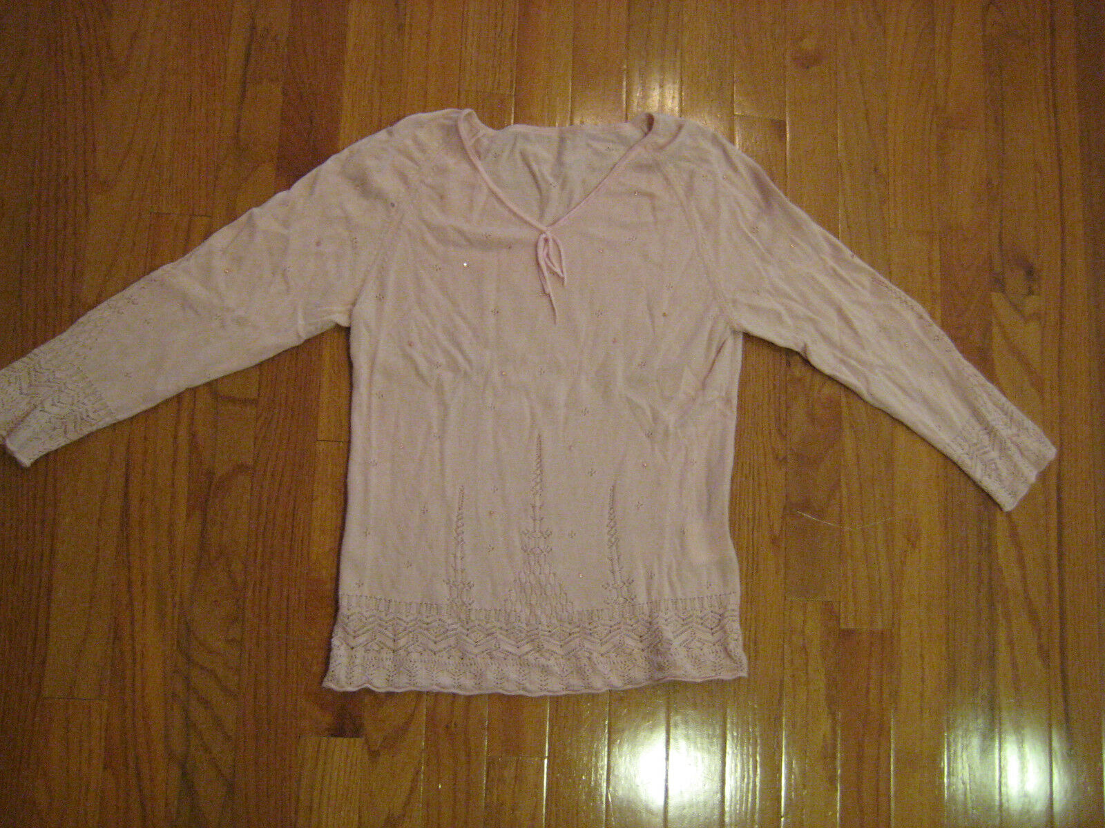 Escada pink sweater with rhinestones and open open open knitting long sleeve size 36 a1c2c6