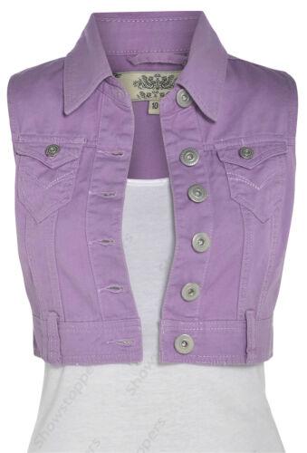 Size 8 10 12 14 16 NEW DENIM Cropped Waistcoat JACKET Ladies Jean Jackets Blue