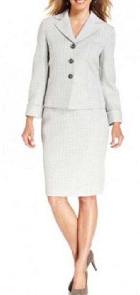 Evan Picone Costume Jupe Sz 16 Argent Multi Gris St Morritz Tweed Career Affaire
