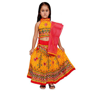 a68d8091dfd8 Kids Lehenga Choli Yellow Indian Handmade Girls Ethnic dress ...