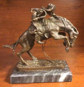 "Bronze Sculpture ""Bronco Buster"" By Frederic Remington - Franklin Mint 1988"