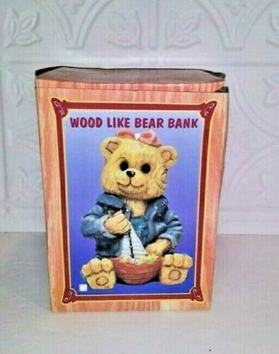 """Details about  / Bear Bank with Wood-like Appearance-Functional Bank Circa 4/"""" Wide x 6/"""" Tall"""