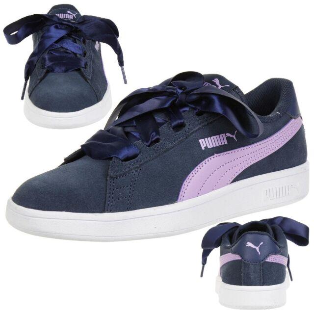 af19a1becc67ce PUMA Smash V2 Ribbon Junior Girl Ladies Shoes Blue 366003 03 UK 3 5 ...