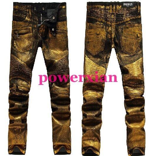 Mens Runway golden Oil Coated Stretch Vintage gold Pants Slim Biker Jeans 28-38