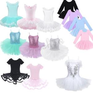 Girls-Kids-Gymnastic-Leotard-Ballet-Tutu-Dress-Princess-Dancewear-Costume-Outfit