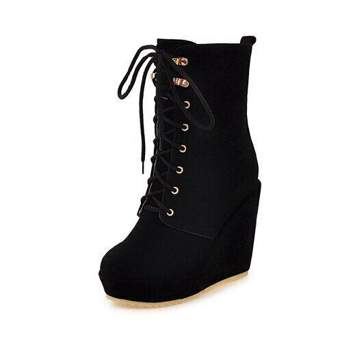 Chaussures Femme Plateforme européenne Combat Bottes Mi-mollet en daim talon compensé Chaussures Sz4-13