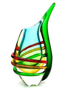 Very-Large-Murano-Sommerso-Art-Glass-Vase-Outer-Strapping-Luigi-Onesto-Formia