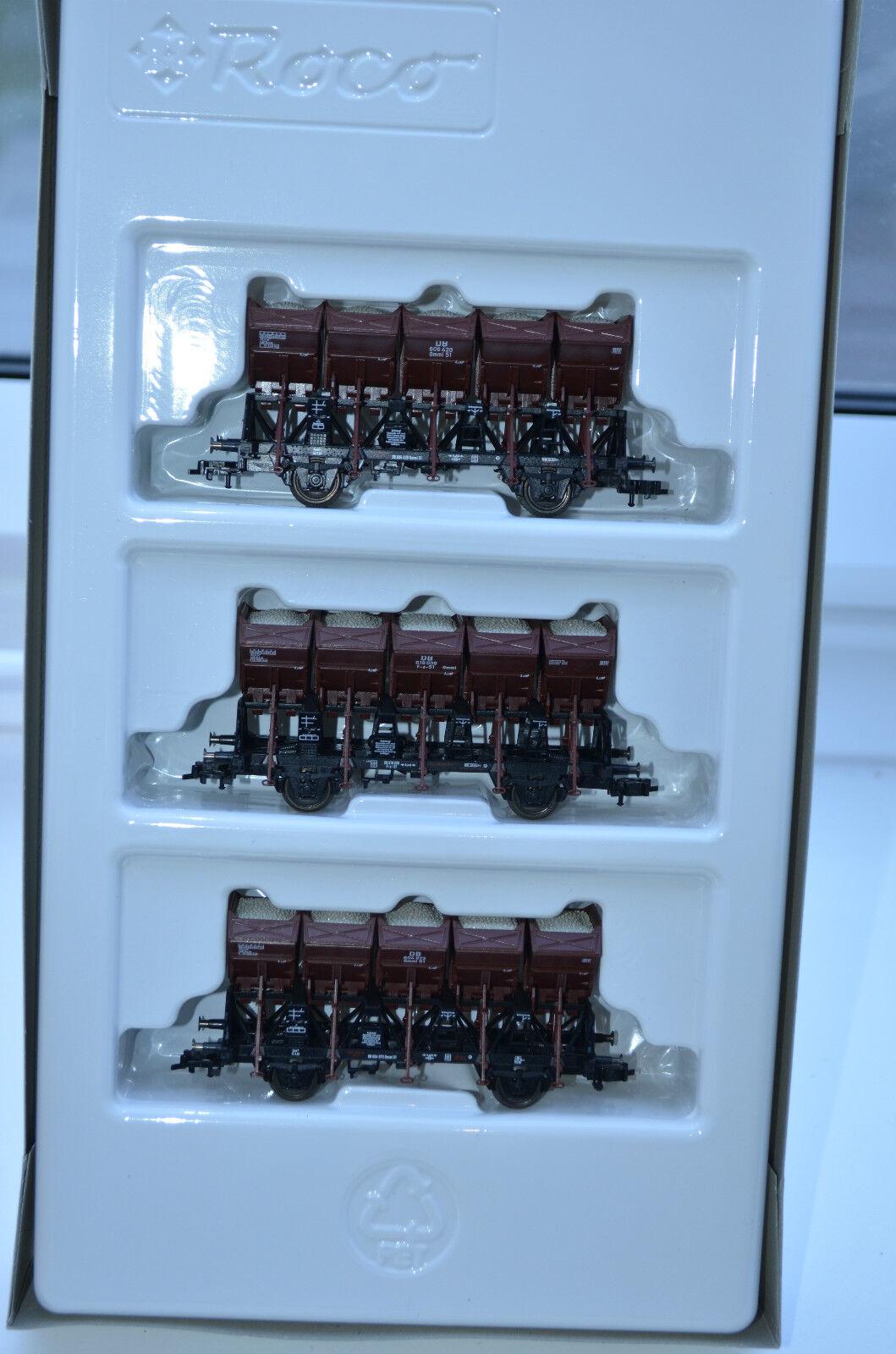 2x 44074 roco muldenkippwagen-set de la DB, Top,  como nuevo