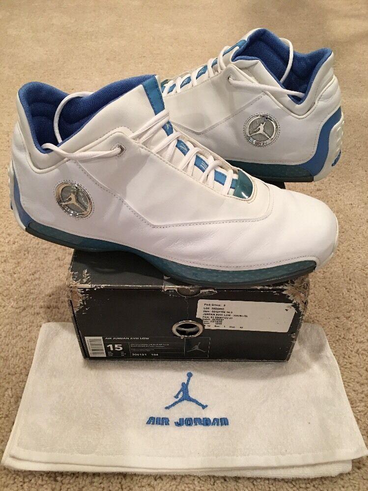 c4d256be43 Nike Air Jordan 18 XVIII Low White Chrome University bluee Silver Size 15  2003