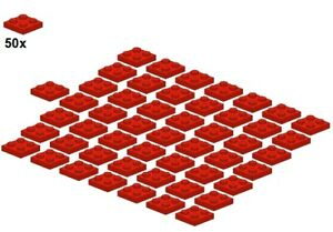 Used-LEGO-Plates-Red-3022-01-2x2-50Stk-Platte-Rot