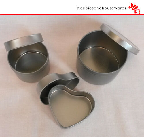 Set of 3 Aluminium containers, candle making - ideal for soya wax, confectionary