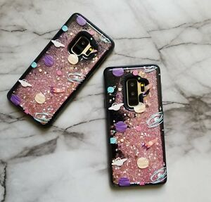 save off dc004 45fab Details about Black Floating Stars Space Liquid Waterfall Glitter Case For  All Samsung Galaxy