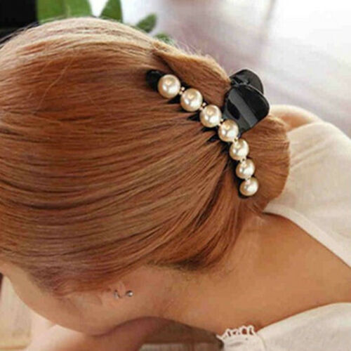 Sleek Pearl Pave Setting Decorated Hair Jaw Claw Clip Girls Hair Wear 8C