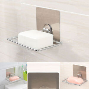 Bathroom Stainless Steel Suction Cup Soap Dish Drain Tray