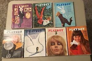 Playboy-Magazine-Lot-Of-7-All-With-Centerfolds-1968-2-1969-4-amp-1970