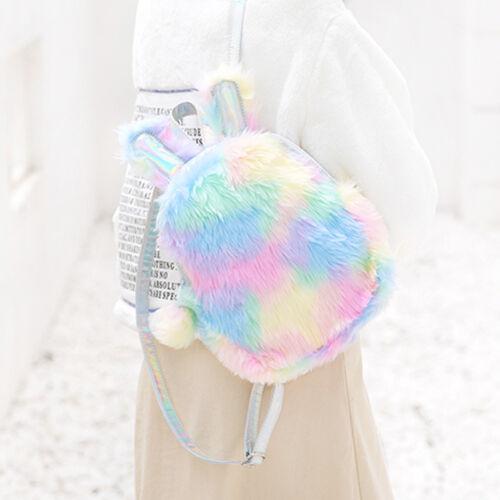 Cute Teen Girl Mini Plush Unicorn Backpack Kid Rainbow School Bag Birthday Gift