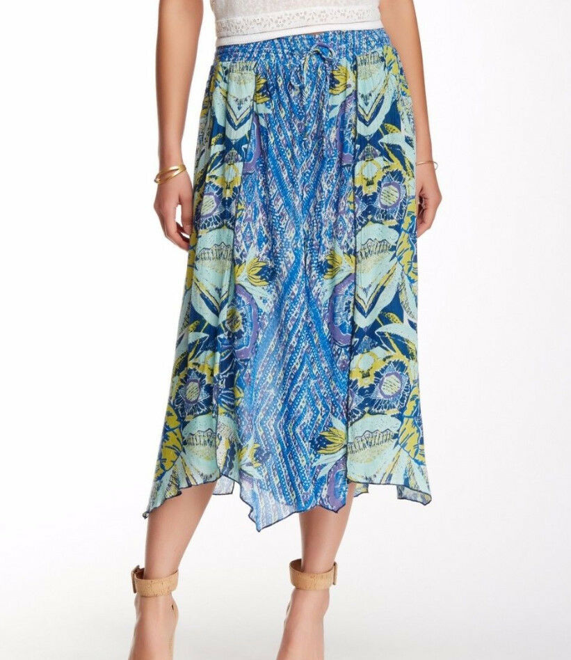 Free People Asymmetrical Printed Overlay Wide Pant In bluee Combo Size M