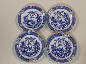 Antico-Inglese-Blu-Floreale-Asiatico-Stanghetta-Decorazioni-Set-di-4-Piattini
