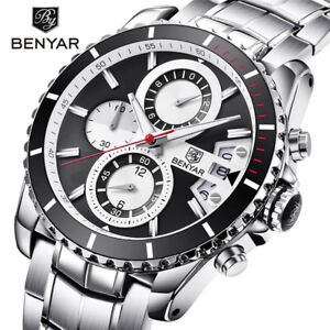 Top-BENYAR-Mens-Quartz-Wrist-Watch-Date-Steel-Band-Chronograph-30m-Waterproof
