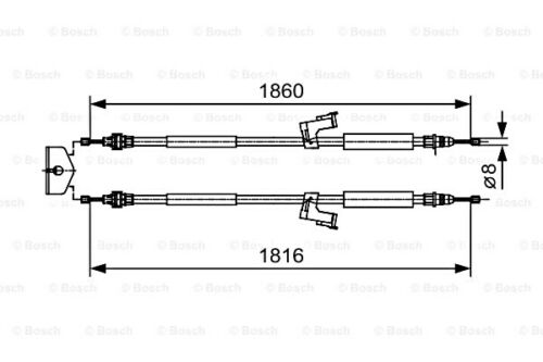 BOSCH Parking Brake Cable Fits VOLVO C30 C70 S40 V50 Wagon 2004-1987482019