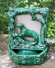 """Panther in Tree Electric TV Lamp Ca 1950s Green Ceramic 8.5""""H Rewired"""