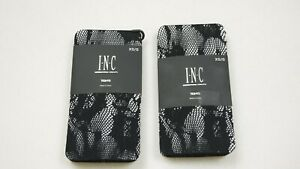 2 x INC Women's Floral Lace Tights - Black - Size: XS/S  (#3)