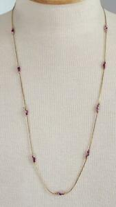 28-034-AMETHYST-STONE-DAINTY-GOLDTONE-CHAIN-ECKLACE-VINTAGE-UNSIGNED-NO-DEFECTS