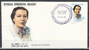 Malagasy Rep., Scott cat. 630. Actress & Singer issue on a First day cover.