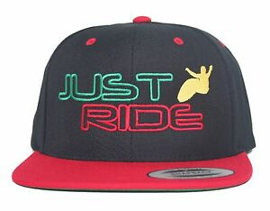 JUST RIDE RASTA WAKE SURF HAT FLAT BILL SNAPBACK SKATE BOARD FLEX ... adfaac9c17da
