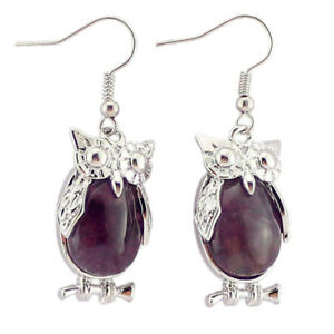 Unique-Owl-Design-Natural-Purple-Amethyst-Gemstone-Silver-Dangle-Earrings
