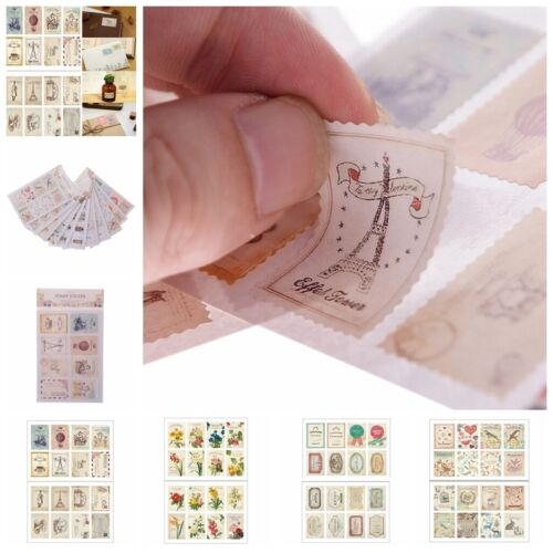 4 Sheets 32pcs Deco Craft Stamp Stickers Diary Sticker Scrapbooking F HC