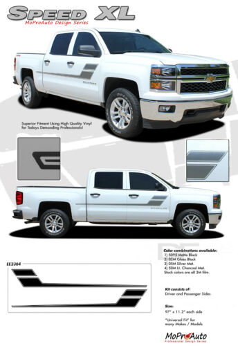 2000-2018 Chevy Silverado Speed XL 3M Pro Vinyl Side Door Stripe Decals Graphic