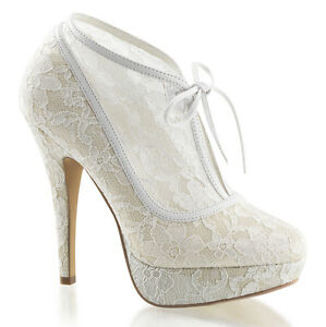 Image Is Loading Ivory Lace Bridal Vintage Victorian Wedding Shoes Heels