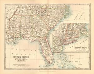 Map Of Eastern Florida.1891 Antique Map United States South Eastern Florida Atlantic