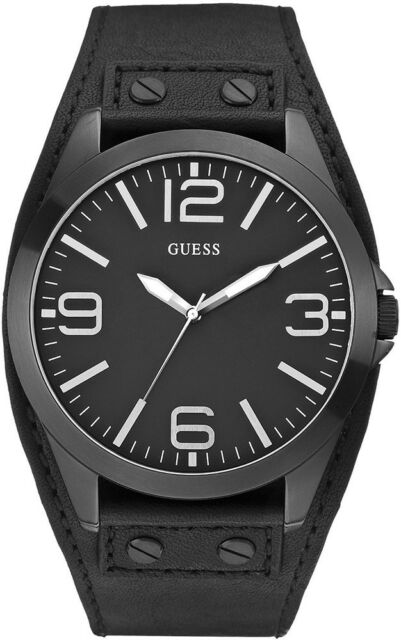 e80a228d4a405 Guess Mens Casual Black Dial Leather Band Analog Quartz Watch W0181G2