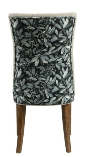 Buttoned backrest upholstered dining chair - Floral design - Brown wooden legs