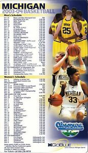 Details About 2003 04 University Of Michigan Men S Women S Basketball Magnet Magnetic Schedule