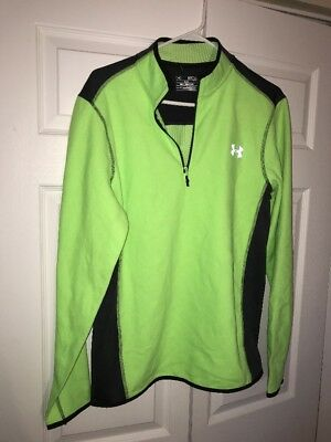 Under Armour Loose Coldgear Stretchy Yellow Green Pullover Zip Up