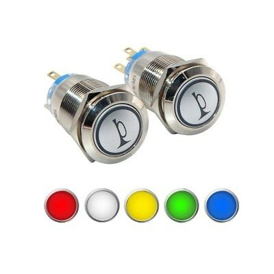 19mm LED Momentary Horn Button Metal Switch Push Button Switch