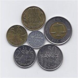 FAUNA ETHIOPIA CIRCULATED GOOD CONDITION 6 COINS SET WITH BIMETALLIC 1 BIRR