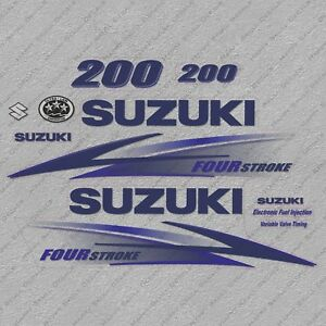 Suzuki 115HP Four Stroke Outboard Engine Decals Sticker Set reproduction White