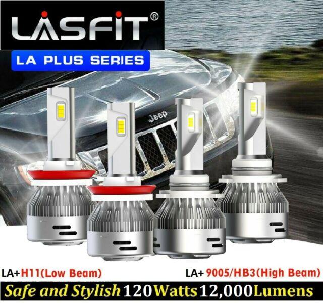 LASFIT plus series 9005 & H11 120W LED Headlamps High & Low Beams fits Cherokee