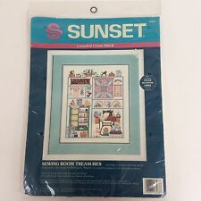 Sunset SEWING ROOM TREASURES Counted Cross Stitch NIP Kit 13573 Discontinued