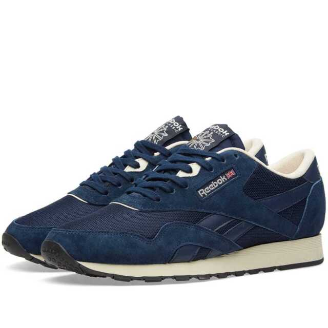 ee08ed29b52 Reebok Men s Classic Nylon Suede Trainers Running Shoes AR1232 - Navy