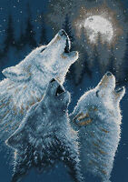 """Dimensions Counted Cross Stitch kit 10"""" x 14"""" IN HARMONY - Wolves Howling Craft Supplies"""