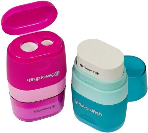 Soft Rubber Eraser And Pencil Sharpener Twin Combo Set Assorted Colour Swordfish