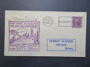 US-1932-SS-Manhattan-Cacheted-Paquebot-Cover-Cpt-Signed-Z7954
