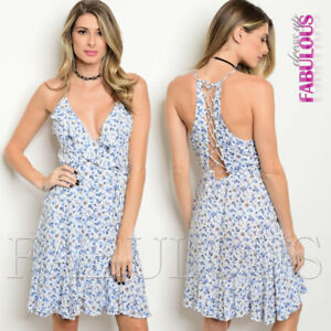 New-Floral-Printed-Sleeveless-Summer-Dress-Back-Lace-Up-Party-Size-6-8-10-XS-S-M